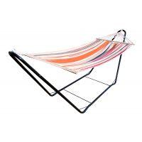 CHILLOUNGE® Sunrise - Hamak jednoosobowy z drążkiem ze stojakiem wykonanym ze stali powlekanej proszkowo