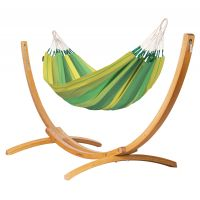 Orquídea Jungle - Klasyczny hamak jednoosobowy ze stojakiem wykonany z FSC™-certyfikowanego drewna modrzew