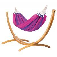 Orquídea Purple - Klasyczny hamak jednoosobowy ze stojakiem wykonany z FSC™-certyfikowanego drewna modrzew