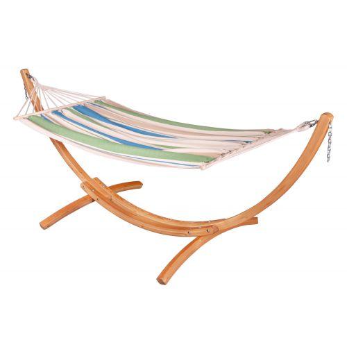CHILLOUNGE® Green Bay - Hamak jednoosobowy z drążkiem ze stojakiem wykonanym z FSC™-certyfikowanego drewna modrzew