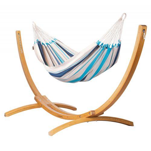 Caribeña Aqua Blue - Klasyczny hamak jednoosobowy ze stojakiem wykonany z FSC™-certyfikowanego drewna modrzew
