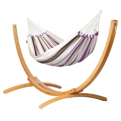 Caribeña Purple - Klasyczny hamak jednoosobowy ze stojakiem wykonany z FSC™-certyfikowanego drewna modrzew