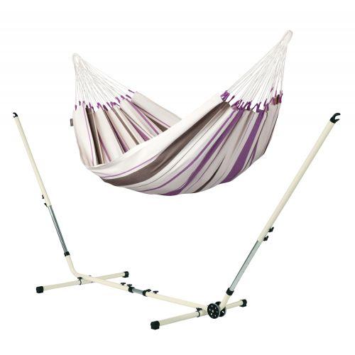Caribeña Purple - Klasyczny hamak jednoosobowy ze stojakiem wykonanym ze stali powlekanej proszkowo
