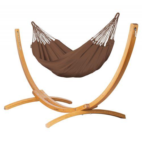 Modesta Arabica - Klasyczny hamak jednoosobowy ze stojakiem wykonany z FSC™-certyfikowanego drewna modrzew