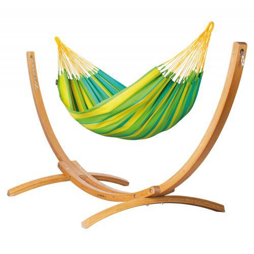 Sonrisa Lime - Klasyczny hamak jednoosobowy ze stojakiem wykonany z FSC™-certyfikowanego drewna modrzew