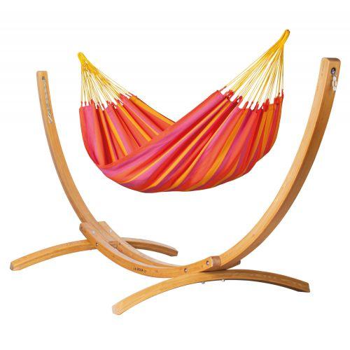 Sonrisa Mandarine - Klasyczny hamak jednoosobowy ze stojakiem wykonany z FSC™-certyfikowanego drewna modrzew